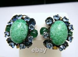 Stunning VTG Schreiner New York Blue Green Gilt Glass Rhinestones Brooch Earring