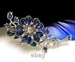 Stunning Vintage Crown Trifari 1950s Blue Rhinestone Flower BroochTop Quality