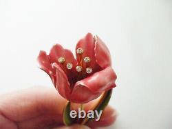 Stunning Vintage Crown Trifari 3.5 Pink Enamel Rhinestone 3-d Flower Pin Brooch