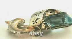 Stunning Vintage Cut Out Sterling Silver Vermeil Huge Aqua Rhinestone Brooch