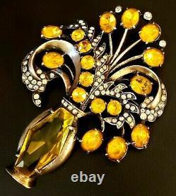 Stunning Vintage Eisenberg Original Sterling Amber Rhinestone Floral Vase Brooch