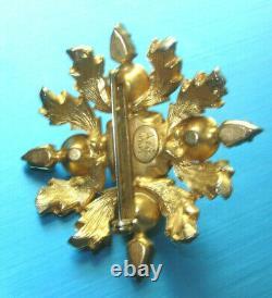 Stunning Vintage MIMI DI N Green & Navy Cabochon Crystals Goldplate Brooch Ni5