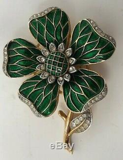 Stunning Vintage PHILIPPE TRIFARI Enamel Rhinestone FLOWER Brooch Pin