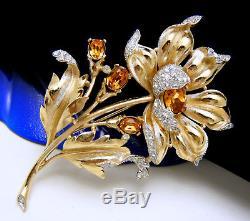 Stunning Vintage Trifari Tm Brooch Topaz Rhinestones Pave Set Flower Large
