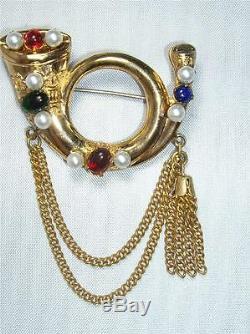Super RARE Vintage Signed CORO Fox Horn / Bugle Cabochon Tassel Pin Brooch