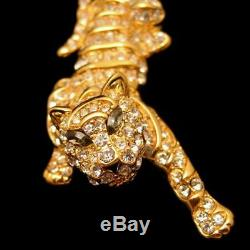 TRIFARI Vintage Large Tiger Brooch Pin Pave Rhinestones Gray Marquise Gold Plate