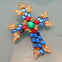 TRIFARI Vintage Maltese Cross Brooch Pin Pendant Large Glass Stones Rhinestones