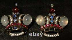 TWO VINTAGE TRIFARI STERLING SILVER RHINESTONE CROWN BROOCHES Alfred Philippe