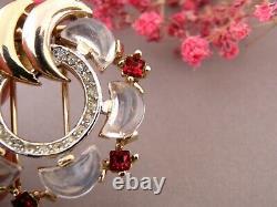 Trifari Brooch Vintage Signed Crown Rhinestones And Crystal