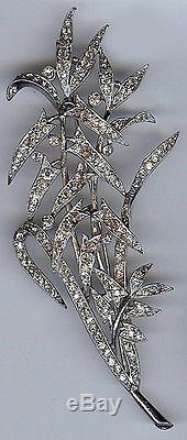 Trifari Huge Vintage Dazzling Rhinestone Leafy Branch Pin Brooch