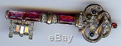 Trifari Vintage Sterling Blue & Pink Faceted Glass Rhinestone Key Pin Brooch