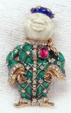 ULTRA-RARE Vtg CINER Enamel, Rhinestone, Ruby Glass Buddha Chinaman Brooch