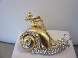 Unique Vintage Designer Hattie Carnegie Rhinestone Pin Brooch Snail Angel RARE