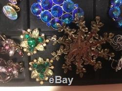 VINTAGE 75 Pc Lot HIGH END RHINESTONE COSTUME JEWELRY Earrings Brooch Necklace &
