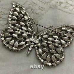 VINTAGE 80s Monty Don Butterfly Brooch Large Black & Clear Rhinestones RARE