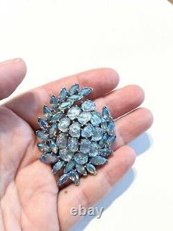 VINTAGE CROWN TRIFARI 1959 ETOILE Blue BOREALIS & LAVA RHINESTONE BROOCH