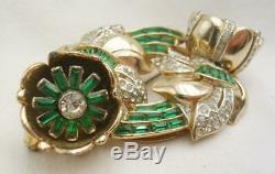 VINTAGE Coro Duette Trembler Quivering Camellia Flower Rhinestone BROOCH PIN