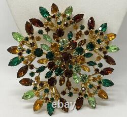 VINTAGE JULIANA HUGE TOPAZ Citrine Emerald Green CRYSTAL RHINESTONE BROOCH 4.5