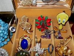 VINTAGE Jewelry Lot 100 pcs 925 12K Brooches Rings Rhinestones No Junk Drawer