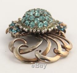 VINTAGE Jewelry SIGNED PENNINO STERLING SILVER PALE BLUE RHINESTONE BROOCH