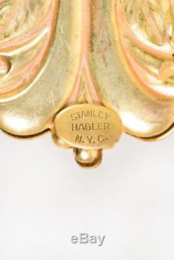 VINTAGE Stanley Hagler Gold Tone Fleur De Lis Floral Rhinestone Brooch Pin