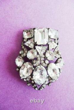 VINTAGE boxed brooch pin EISENBERG Original AUSTRIAN Ice CRYSTAL Rhinestones