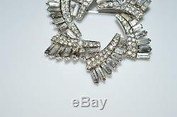 VTG 1930-40s CROWN TRIFARI Silver Tone Clear Rhinestone Large Star Pin Brooch