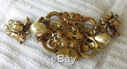 VTG 1940s EMPRESS EUGENIE TRIFARI Rhinestone Brooch Earrings with paper and box