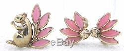 VTG 1950 CROWN TRIFARI Gold Tone Pink Glass Squirrel Clip Earrings Brooch
