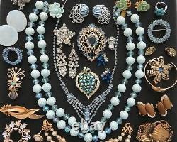 VTG Designer Blue Tone Rhinestone Brooch Necklace Earrings Lot Trifari Lisner