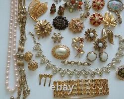 VTG Fashion Designer Rhinestone Enamel Brooch Earrings Necklace Lot