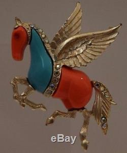 VTG Hattie Carnegie Faux Coral & Turquoise Pegasus Horse Rhinestones Pin Brooch