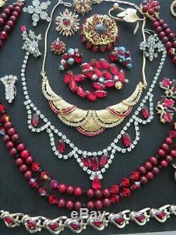 VTG Hight End Red Ruby Tone Rhinestone Crystal Brooch Mixed Lot Trifari Coro #17