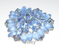 VTG JULIANA D&E Blue AB Rhinestone Large 3D Aurora Borealis Flower Brooch