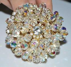 VTG JULIANA D&E Gold Tone Clear Rhinestone Dangle Crystal Flower Pin Brooch