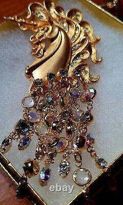 VTG Kirks Folly Signed Gold Tone Unicorn Pendant Pin Brooch AB Aurora Borealis