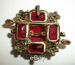VTG Large Schreiner NY Domed Two Tone Red Green Dimensional Pin Brooch Signed