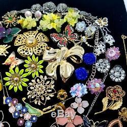 VTG&Now Jewelry LOT Rhinestone Enamel Flowers Butterflies Bouquet Brooches Earri