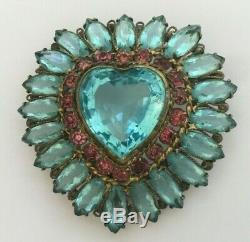 VTG Original by Robert Signed Huge Heart Rhinestone Brooch Pin Aqua Pink gd filg