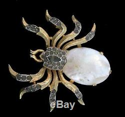 VTG Philippe TRIFARI Pearl Belly Rhinestone SPIDER Bug Insect Figural Pin Brooch