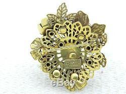 VTG RARE VENDOME CORO Gold Tone Topaz Rhinestone Faux Pearl Flower Pin Brooch