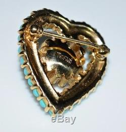 VTG Rare CROWN TRIFARI Gold Tone Blue Cabochon Red Rhinestone Heart Brooch Pin
