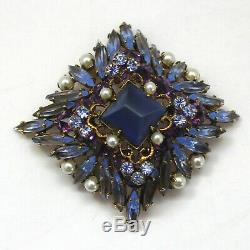 VTG Schreiner Blue Square Purple Rhinestone Pearl Ruffle Style Brooch Book Piece