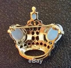 VTG TRIFARI Rhinestone Crown Brooch CROWN JEWEL Moonstone Sapphire Emerald Ruby