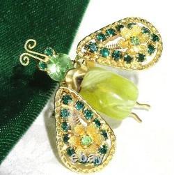 VTG UnSign SCHREINER Wing Rhinestone ART GLASS Bug Butterfly TREMBLER Pin Brooch