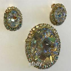 Verified Vintage Juliana D & E Geode Crystal Quartz Rhinestone Brooch & Earrings