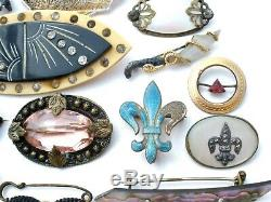 Victorian Art Deco Vintage Brooch Lot 36 Pins Hair Lingerie Jabot MOP Abalone