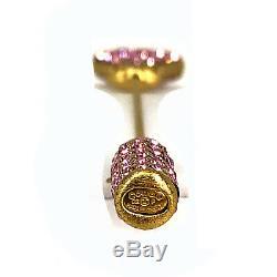 Vintage 14K Chanel Heart rhinestone pink gradient pin brooch