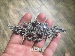 Vintage 1930's-40's Large 4 1/2 Crown Trifari Brooch Pin Floral Red Rhinestones