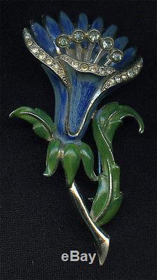 Vintage 1930's CORO Enamel & Rhinestone Trembler Floral Perfume Brooch Pin